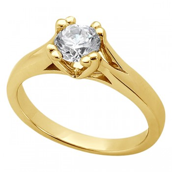 Double Prong Trellis Engagement Ring Setting in 18k Yellow Gold