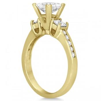 Round & Princess Cut 3 Stone Diamond Engagement Ring 18k Y. Gold 0.50ct
