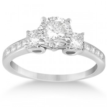 Three-Stone Princess Cut Diamond Engagement Ring 14k White Gold (0.64ct)