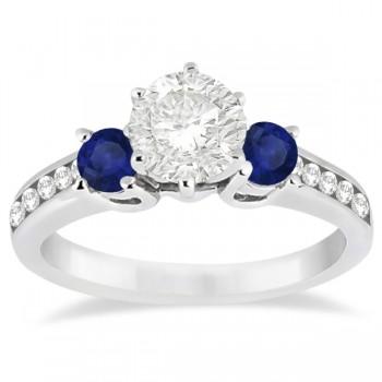 Three-Stone Sapphire & Diamond Engagement Ring 14k White Gold (0.60ct)