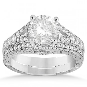 Antique Style Art Deco Diamond Bridal Set 14K White Gold (0.53ct)