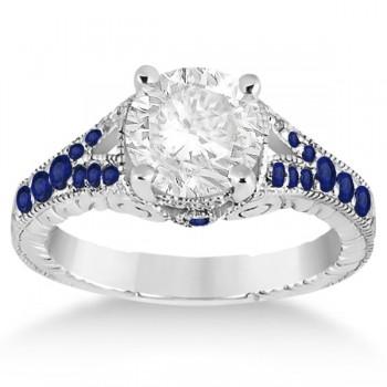 Antique Art Deco Blue Sapphire Engagement Ring 14k White Gold (0.33ct)