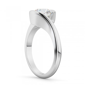 Tension Set Swirl Solitaire Engagement Ring Setting 14k White Gold