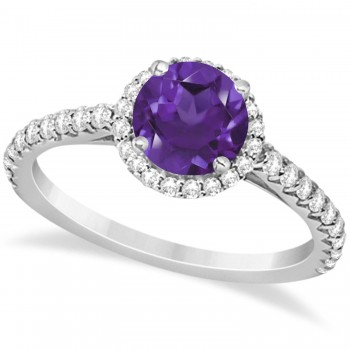 Halo Amethyst & Diamond Engagement Ring  14K White Gold 1.60ct This preset engagement ring runs circles around an ordinary proposal band with a halo of diamonds framing a stunning center stone.Approximately 1.60ctw of dazzle make this the ring dreams are made of with 38 ideal cut diamonds creating stunning accents for a lovely round amethyst center.The 1.10 carat center amethyst is elegantly accented by 0.50ctw of sparkling diamonds, dancing around the center. This beautiful halo engagement ring can also be worn as a fashion ring and anniversary ring.