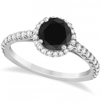 Halo Black Diamond & Diamond Engagement Ring  14K White Gold 1.50ct This preset engagement ring runs circles around an ordinary proposal band with a halo of diamonds framing a stunning center stone.Approximately 1.50ctw of dazzle make this the ring dreams are made of with 38 ideal cut diamonds creating stunning accents for a lovely round black diamond center.The one carat center black diamond is elegantly accented by 0.50ctw of sparkling diamonds, dancing around the center. This beautiful halo engagement ring can also be worn as a fashion ring and anniversary ring.