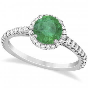 Halo Emerald & Diamond Engagement Ring  14K White Gold 1.76ct This preset engagement ring runs circles around an ordinary proposal band with a halo of diamonds framing a stunning center stone.Approximately 1.76ctw of dazzle make this the ring dreams are made of with 38 ideal cut diamonds creating stunning accents for a lovely round emerald center.The 1.26 carat center emerald is elegantly accented by 0.50ctw of sparkling diamonds, dancing around the center. This beautiful halo engagement ring can also be worn as a fashion ring and anniversary ring.
