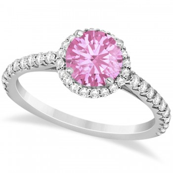 Halo Pink Tourmaline & Diamond Engagement Ring  14K White Gold 1.78ct This preset engagement ring runs circles around an ordinary proposal band with a halo of diamonds framing a stunning center stone.Approximately 1.78ctw of dazzle make this the ring dreams are made of with 38 ideal cut diamonds creating stunning accents for a lovely round pink tourmaline center.The 1.28 carat center pink tourmaline is elegantly accented by 0.50ctw of sparkling diamonds, dancing around the center. This beautiful halo engagement ring can also be worn as a fashion ring and anniversary ring.