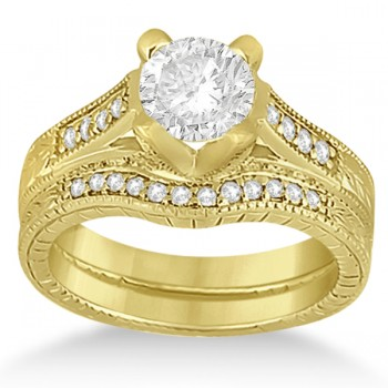 Antique Style Engagement Ring and Matching Wedding Band 18k Yellow Gold