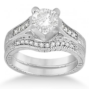Antique Style Engagement Ring and Matching Wedding Band in Platinum This antique style diamond wedding band and matching wedding ring is beautifully set with a combined total of fifty brilliant cut round diamonds  (12 diamonds in the wedding band and 38 diamonds in the engagement ring).  The diamonds weigh a total of 0.52 carat and are beautifully set in a Pave Setting.  This matching vintage bridal set is available in white, yellow, and pink gold in both 14kt and 18kt, as well as in 950 platinum, and palladium.