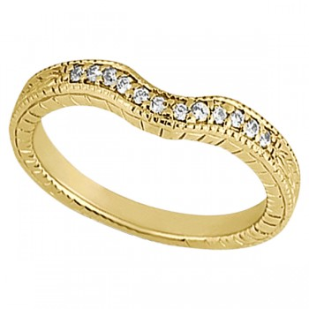 Antique Style Pave-Set Diamond Wedding Band 14k Yellow Gold (0.12ctw) This gorgeous vintage wedding band features 12 brilliant-cut round diamonds of G-H Color, VS2-SI1 Clarity beautifully set in a Pave Setting. This unique wedding ring features milgrain edges and antique scroll work, making it unlike any other.