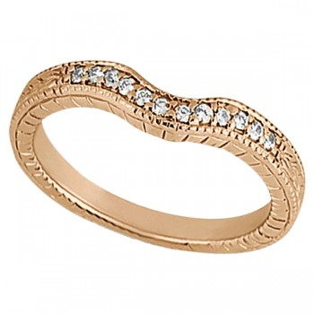 Antique Style Pave-Set Diamond Wedding Band in 18k Rose Gold (0.12 ctw) This gorgeous vintage wedding band features 12 brilliant-cut round diamonds of G-H Color, VS2-SI1 Clarity beautifully set in a Pave Setting. This unique wedding ring features milgrain edges and antique scroll work, making it unlike any other.