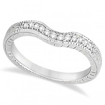 Antique Style Pave-Set Diamond Wedding Band in Platinum (0.12 ctw) This gorgeous vintage wedding band features 12 brilliant-cut round diamonds of G-H Color, VS2-SI1 Clarity beautifully set in a Pave Setting. This unique wedding ring features milgrain edges and antique scroll work, making it unlike any other.