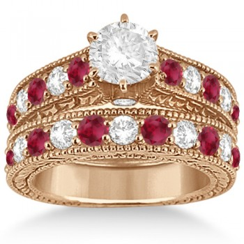 Antique Diamond & Ruby Bridal Wedding Ring Set 18k Rose Gold (2.75ct) Set in an 18kt rose gold (pink gold) bead setting, 23 sparkling gems are magnificently showcased in this diamond & ruby engagement ring with matching wedding band. The clear white diamonds are of G-H color and VS2-SI1 clarity. The bridal set features antique style scroll work and classic milgrain edges. The interchangeable head prong mounting lets you design your own engagement ring with a center stone of your choice carat weight and shape. This diamond and ruby ring set is also available in other metals.