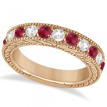 Antique Diamond & Ruby Engagement Wedding Ring 14k Rose Gold (1.40ct) Hand crafted in 14kt rose gold (pink gold), this vintage style diamond wedding ring showcases 11 round cut stones for a total  of 1.40 carats.The 5 diamonds are of clear G-H color and VS2-SI1 Clarity, alternating with six beautiful rubies, all mounted in a bead setting.The art deco wedding band features filigree (scroll work) and milgrained edge engravings for a classic look that never goes out of style.This one-of-a-kind bridal wedding ring is available in alternate metals as well.