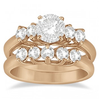 Five Stone Diamond Bridal Set Ring and Band in 14k Rose Gold (0.90ct)