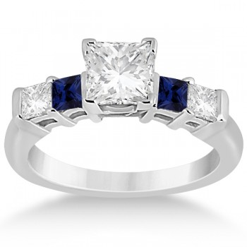 5 Stone Princess Diamond & Sapphire Engagement Ring 14K W. Gold 0.46ct