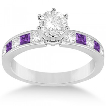 Channel Amethyst & Diamond Engagement Ring 14k White Gold (0.60ct)