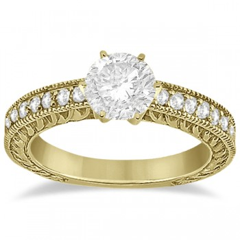 Vintage Style Diamond Filigree Engagement Ring 14k Yellow Gold (0.16ct) This milgrain edge proposal ring setting can fit any size and cut diamond as the center stone. The diamonds are a total 0.16 carat weight, and holds 19 brilliant diamonds with VS2-SI1 clarity and G-H color. The pave 14k yellow gold setting crafts the diamonds into a breathtaking semi-eternity design.  This antique carved engagement ring setting is also available with a matching wedding band for the big day.
