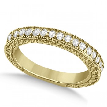 Vintage Style Filigree Diamond Wedding Band 14k Yellow Gold (0.19ct) This outstanding diamond milgrain edge wedding band can be worn to with our Vintage Style Filigree Diamond Ring Setting or on its own for a beautiful bridal accessory. This bridal band is a total of 0.19 carat diamond. The 19 brilliant cut diamonds shine with VS2-SI1 clarity and G-H color.  These round diamonds are beautifully hand set in this 14k yellow gold diamond ring.