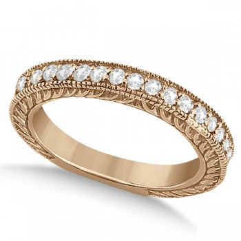 Vintage Style Filigree Diamond Wedding Band 18k Rose Gold (0.19ct) This outstanding diamond milgrain edge wedding band can be worn with our Vintage Style Filigree Diamond Ring Setting or on its own for a beautiful bridal accessory. This bridal band is a total of 0.19 carat diamond. The 19 brilliant cut diamonds shine with VS2-SI1 clarity and G-H color.  These round diamonds are beautifully hand set in this 18kt rose gold diamond ring.