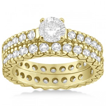 Diamond Eternity Bridal Ring Engagement Set in 14k Yellow Gold 0.95ctw