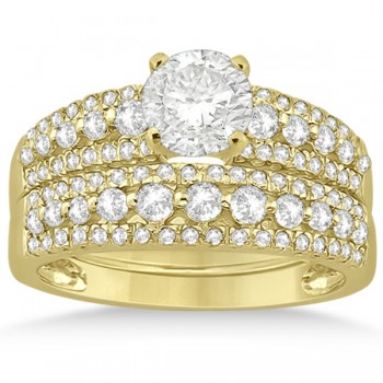 Three-Row Prong-Set Diamond Bridal Set in 14k Yellow Gold (0.80ct)