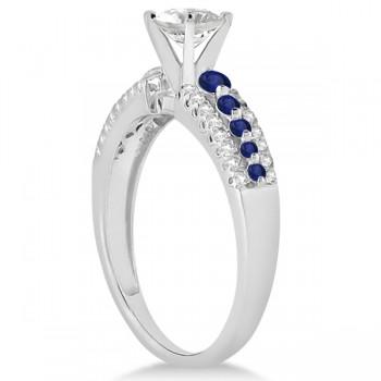 Three-Row Blue Sapphire Diamond Engagement Ring 14k White Gold 0.55ct