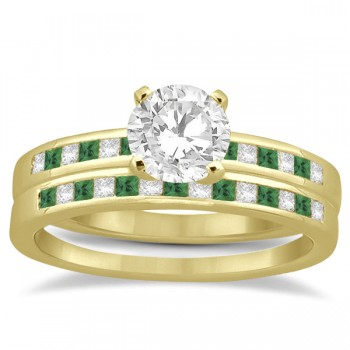 Princess Cut Diamond & Emerald Bridal Ring Set 14k Yellow Gold (0.54ct)