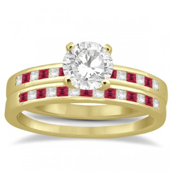 Princess Cut Diamond & Ruby Bridal Ring Set 14k Yellow Gold (0.54ct)