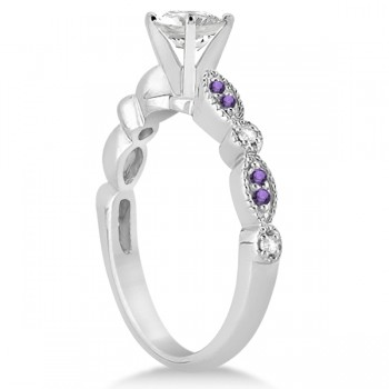 Marquise & Dot Diamond Amethyst Engagement Ring 14k White Gold 0.24ct