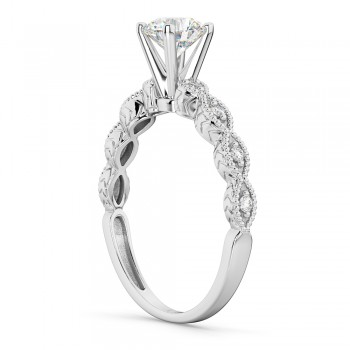 Petite Marquise Diamond Engagement Ring 14k White Gold (0.10ct)