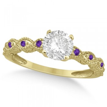Vintage Diamond & Amethyst Engagement Ring 18k Yellow Gold 1.50ct Dazzle her with this vintage style diamond and amethyst engagement ring, preset with approximately 1.50 total carats of expertly chosen gems.This ring, proudly made in the USA, features a prong set conflict free round diamond of approximately 1.30 carats with eight pave set amethyst side stone accents. These side stone feature an approximate total weight of 0.18 additional carats.This stunning antique setting of 18k yellow gold makes this diamond and amethyst twisted shank engagement ring the perfect choice for those brides looking for an alternative to the ordinary diamond ring.