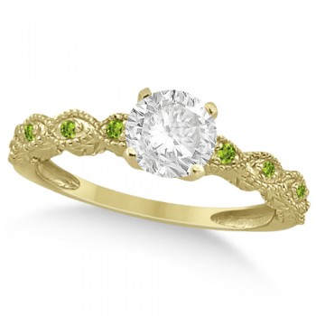Vintage Diamond & Peridot Engagement Ring 18k Yellow Gold 1.50ct Dazzle her with this vintage style diamond and peridot engagement ring, preset with approximately 1.50 total carats of expertly chosen gems.This ring, proudly made in the USA, features a prong set conflict free round diamond of approximately 1.30 carats with eight pave set peridot side stone accents. These side stone feature an approximate total weight of 0.18 additional carats.This stunning antique setting of 18k yellow gold makes this diamond and peridot twisted shank engagement ring the perfect choice for those brides looking for an alternative to the ordinary diamond ring.