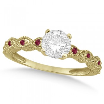 Vintage Diamond & Ruby Engagement Ring 18k Yellow Gold 1.50ct Dazzle her with this vintage style diamond and ruby engagement ring, preset with approximately 1.50 total carats of expertly chosen gems.This ring, proudly made in the USA, features a prong set conflict free round diamond of approximately 1.30 carats with eight pave set ruby side stone accents. These side stone feature an approximate total weight of 0.18 additional carats.This stunning antique setting of 18k yellow gold makes this diamond and ruby twisted shank engagement ring the perfect choice for those brides looking for an alternative to the ordinary diamond ring.
