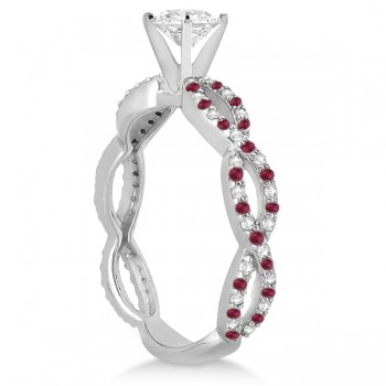 Pave Diamond & Ruby  Infinity Eternity Engagement Ring 14k White Gold (0.40ct)