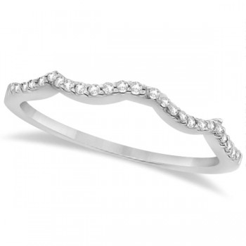 Contour Diamond Accented Wedding Band 14K White Gold (0.13ct) This lovely women's contour diamond wedding band contains 26 individually set near colorless diamonds.Set in 14K white gold, this contour band is part of a matched bridal set that includes an open twist diamond accented infinity engagement ring with a solitaire center for the diamond of your choice.Give her the wedding band she's been dreaming of and say 'I Do' in style.This contour diamond band wedding ring is made in the USA, like all of our other fine jewelry items.