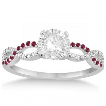 Infinity Diamond & Ruby Gemstone Engagement Ring 14K White Gold 0.21ct