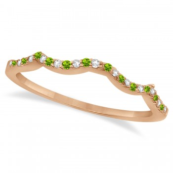 Diamond & Peridot Contour Wedding Band 14K Rose Gold 0.24ct Like icing on a cake, this diamond and peridot contour wedding band is the finishing touch to its companion infinity engagement ring.Artistically created from 14k Rose Gold, this breathtaking wedding band is ablaze with 26 pave set, conflict free, diamonds and genuine green peridot gemstones.