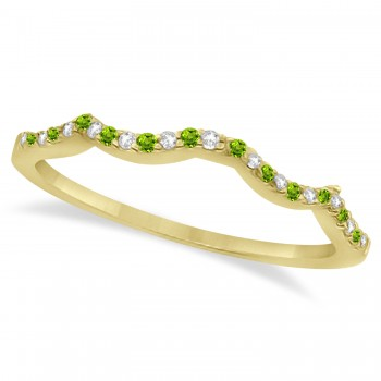 Diamond & Peridot Contour Wedding Band 14K Yellow Gold 0.24ct Like icing on a cake, this diamond and peridot contour wedding band is the finishing touch to its companion infinity engagement ring.Artistically created from 14k yellow gold, this breathtaking wedding band is ablaze with 26 pave set, conflict free, diamonds and genuine green peridot gemstones.