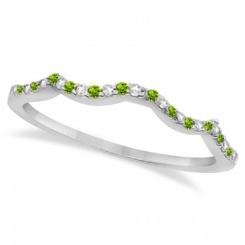 Diamond & Peridot Contour Wedding Band 18k White Gold 0.24ct Like icing on a cake, this diamond and peridot contour wedding band is the finishing touch to its companion infinity engagement ring.Artistically created from 18k White Gold, this breathtaking wedding band is ablaze with 26 pave set, conflict free, diamonds and genuine green peridot gemstones.