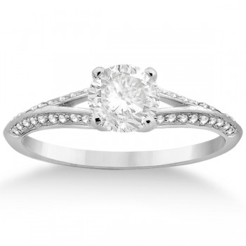 Knife Edge Diamond Engagement Ring 14k  White Gold Setting (0.18ct)