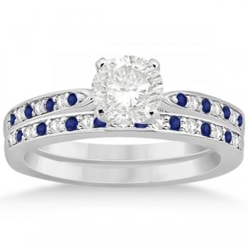 Blue Sapphire & Diamond Engagement Ring Set 14k White Gold (0.55ct)