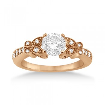 Butterfly Diamond Engagement Ring Setting 18k Rose Gold (0.20ct)