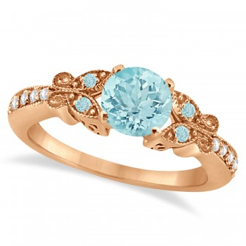 Butterfly Aquamarine & Diamond Engagement Ring 18K Rose Gold 0.73ct Capture her heart with this 18K Rose Gold diamond and aquamarine gemstone engagement ring.Set with approximately 0.73 total carats, this stunning, nature inspired ring features intricate details that make it even more endearing.From the milgrain edge, to the artistry of each butterfly, this engagement ring embraces the spirit of freedom and love.