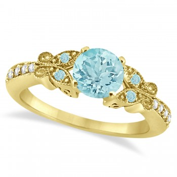 Butterfly Aquamarine & Diamond Engagement Ring 18K Yellow Gold 0.73ct Capture her heart with this 18K Yellow Gold diamond and aquamarine gemstone engagement ring.Set with approximately 0.73 total carats, this stunning, nature inspired ring features intricate details that make it even more endearing.From the milgrain edge, to the artistry of each butterfly, this engagement ring embraces the spirit of freedom and love.