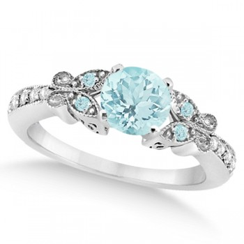 Butterfly Aquamarine & Diamond Engagement Ring Platinum (0.73ct) Capture her heart with this Platinumdiamond and aquamarine gemstone engagement ring.Set with approximately 0.73 total carats, this stunning, nature inspired ring features intricate details that make it even more endearing.From the milgrain edge, to the artistry of each butterfly, this engagement ring embraces the spirit of freedom and love.