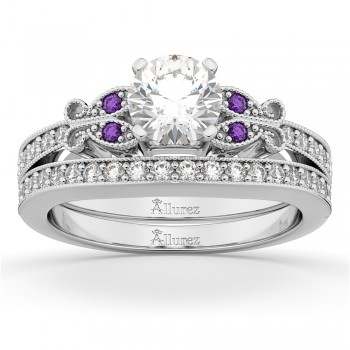 Butterfly Diamond & Amethyst Bridal Set 14k White Gold (0.42ct)