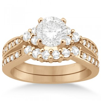 Floral Diamond Engagement Ring & Wedding Band 18k Rose Gold (0.56ct) Striking in style and delicately crafted in an 18kt Rose Gold (Pink Gold) setting, this diamond engagement band and wedding ring is unlike any other.A total of 32 brilliant cut round diamonds of GH Color, VS2-SI1 Clarity adorn your finger on this side stone accented bridal ring.By setting a center stone of your choice you can build engagement rings the way you want.This bridal ring set is also available in other metals.