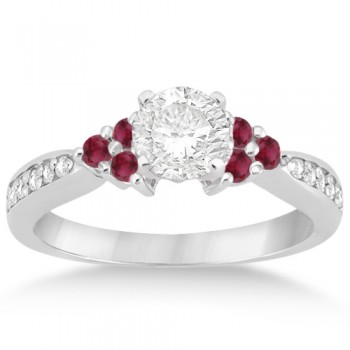 Floral Diamond and Ruby Engagement Ring Setting 14k White Gold (0.30ct) Adorn yourself in the elegance of rubies and diamonds. This ruby engagement ring with diamonds is crafted in an exquisite 14kt White Gold Bead setting.A total of 6 colored gemstones and 10 round cut diamonds combine to form one of the best engagement rings Allurez offers in its bridal gemstone ring category.It's your wedding, make it personal. Design your own engagement ring with a center stone of any type in your choice carat weight and shape.The diamonds are of G-H Color, VS2-SI1 Clarity diamonds.