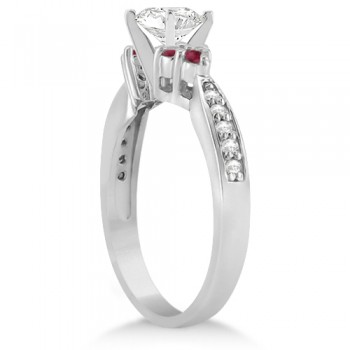 Floral Diamond and Ruby Engagement Ring Setting 14k White Gold (0.30ct)